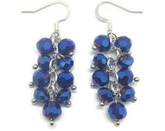 Blue Cluster Earrings,  Cluster Earrings, Crystal Cluster, Crystal Earrings, Blue Crystal Earrings, Blue Earrings, Dark Blue Earrings