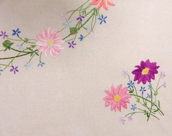 Natural coloured heavy linen tablecloth hand embroidered daisies in shades of pink, blue forget-me-nots. 105 cms square Ex Cond