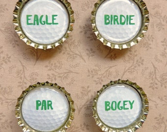 Golf Magnets, Golf Party Favors, Bottle Cap Magnets, Set of 4, Packaged for Gift Giving