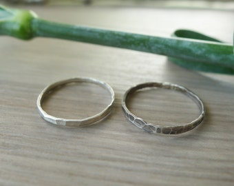 Hammered Ring, Stacking Ring, Sterling Silver, Simple Ring, Oxidized Ring, Thin Band, Thin Ring, Modern Ring, Silver Stacking Ring, Plain