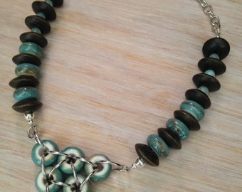 Aqua & Chocolate Brown Bib Necklace