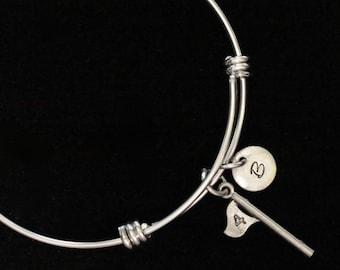 Golf Flag Bangle Bracelet, Golfing Bracelet, Adjustable Bracelet, Stainless Steel Bracelet, Initial Bracelet, Personalized, qb56