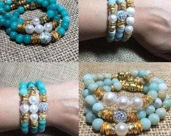 Amazonite/ freshwater pearl bracelet set