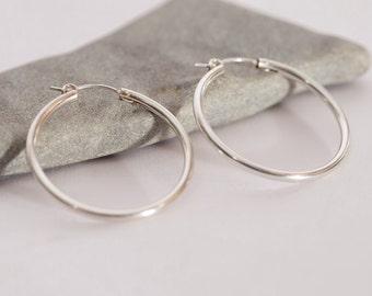 Silver plated hoop earrings, silver gypsy hoops, Boho hoops, Double silver plated, gypsy hoop earrings, big hoops, shine, thick hoops, Gift