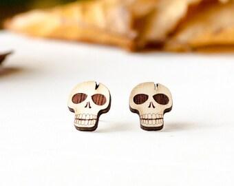Wood Earrings - Skull Stud Earring - Halloween Earrings