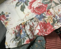 Authentic original Ralph Lauren unused full-size sheet Ivory background American flag country floral pattern