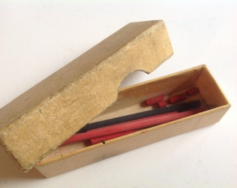 Vintage elongated  box large red lead pencil replacement supply