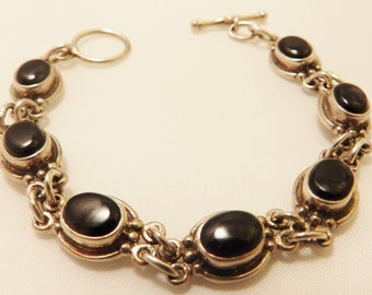 Sterling Silver Black Onyx Gemstone Bracelet