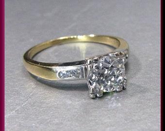 Antique Vintage Retro 1940's 14K Yellow Gold Old European Cut Diamond Engagement Ring Wedding Ring - ER 521M