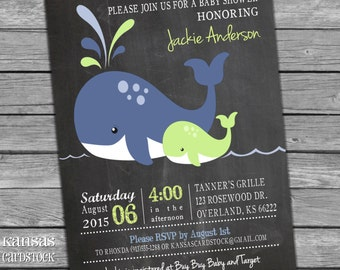 Nautical Baby Shower Invitation, Baby Boy Shower invitation, DIY Printable, Navy and Lime, Whales, Whale Baby Shower, Baby Shower Party