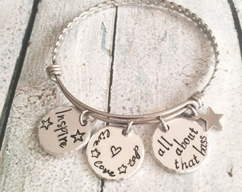 Dance bracelet - Hand stamped - Dance gift - Gift for dance teacher - Inspire jewelry - Stainless steel bracelet - All about that bass