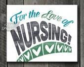 Nurse Print - INSTANT DOWNLOAD Nursing Art - Vintage Nurse Poster - 8x10 Nurse Wall Art - Retro Nurse Gifts - Typography Nurses Print