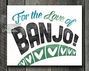 Banjo Print - INSTANT DOWNLOAD Banjo Art - Vintage Banjo Poster - Banjo Wall Art - Banjo Gifts - Retro Banjo Music Decor