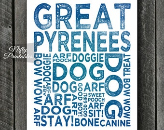 Great Pyrenees Print - INSTANT DOWNLOAD Great Pyrenees Art - Pyrenees Dog Poster - Pyrenees Gifts - Printable Great Pyrenees Wall Art