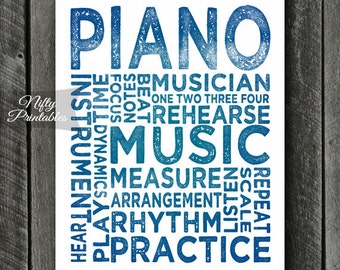 Piano Print - Piano Art - Piano Typography - INSTANT DOWNLOAD Piano Poster Print - Blue Music Wall Art - Piano Gifts - Pianist Gifts