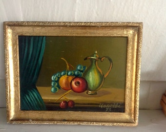 Vintage Still life painting......Original and Signed.....1970s....Pretty wood frame