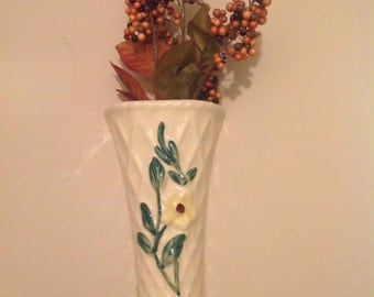Vintage ceramic wall pocket....vase....yellow floral design