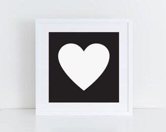 5x5 PRINTABLE | Heart Art Print | Black