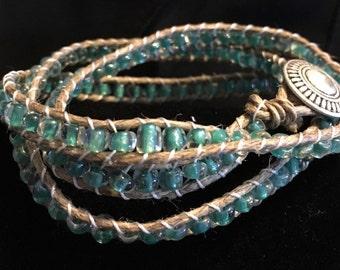 Beaded Wrap Bracelet, teals 34