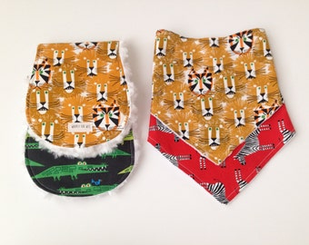 Handmade bib and burp cloth set, baby bib, burp cloth, baby gift