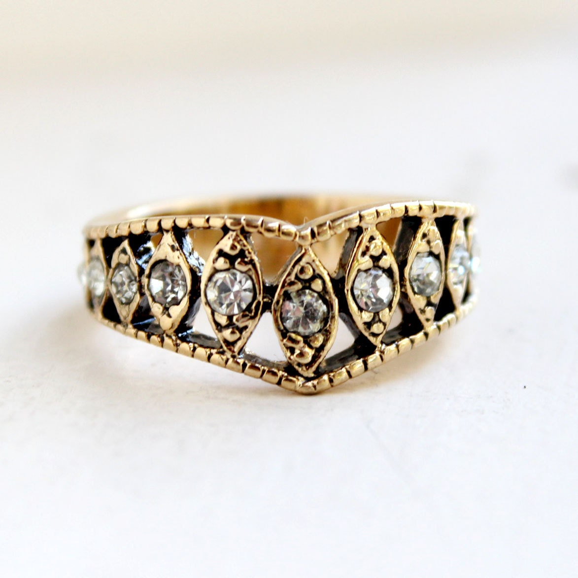 vintage edwardian ring antique gold tone with clear austrian