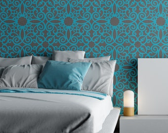 Wall Stencil Pattern Kalaat, Allover Stencil for Modern Wall Painting Decor