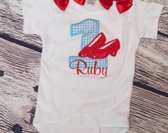 Ruby Slippers Wizard Of Oz Birthday Number Onesie or Shirt, Custom Personalized Birthday Onesie Or Shirt - Wizard Of Oz