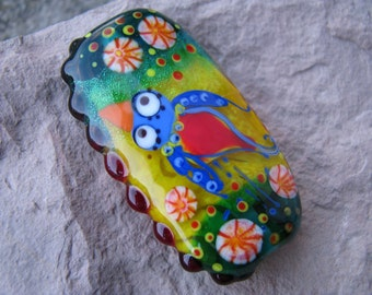 "Handmade Lampwork glass pendant, Lampwork glass focal bead, ""Girl and bird"""