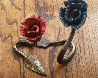 Small hand forged roses