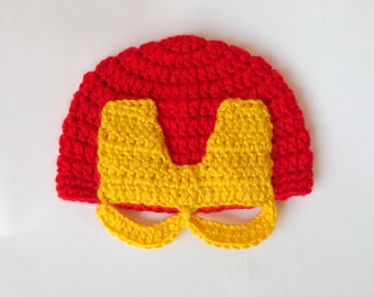 Iron Man Marvel Hat, Ironman Beanie Mask- Superhero , Avengers Hat  Mask- Newborn Child Teen  Adult - Halloween / Cosplay / Baby Shower Gift