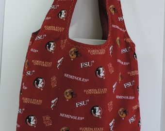 Reusable Bag, campus, grocery , shopping bag: FSU print with matching lining