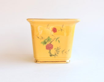 Vintage Hyalyn Pottery Planter, Shabby Cottage Chic Planter, Golden Yellow, Red Flowers, Gold Painted Trim, Floral Planter Vase, Distressed