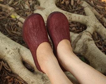 Handmade Women Leather Shoes, Wine Red Platform Shoes, pantshoes, Casual Shoes, Slip Ons