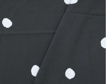 Cotton Fabric White Dots on Dark Gray By The Yard