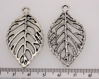 Pewter Leaf Pendant  27 x 48 mm (2 pendants)