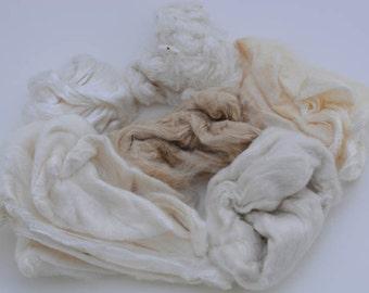 Silk Fiber Sampler, Assorment of Silk, Silk Spinning Fiber, Small amounts of Silk Fiber