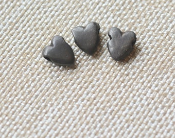 Heart Bead, Black, Bronze, Black Heart Bead, Goth, Bohemian, 8x11mm, 2mm Side Drilled Hole,Heart Bracelets,Heart Necklace,Set of 3, AK15-029