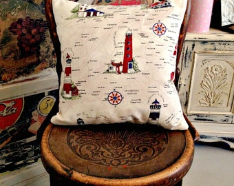 Shabby Vintage Home Hand Crafted Nautical Lighthouse Cushion