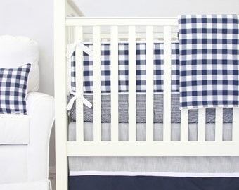 Brett's Navy Gingham Baby Bedding   Navy, White, and Gray Boy Crib Set   Blue and White Checker Baby Bumpers  