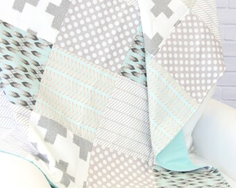 15% OFF SALE - Gale's Gray and Aqua Baby Quilt