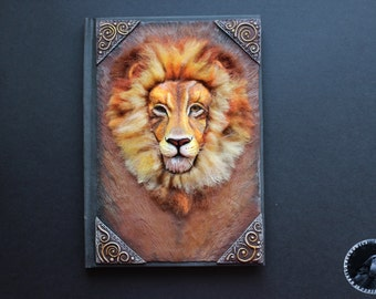 Lion polymer clay notebook journal cover