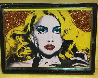 Glittered LADY GAGA Magnet and Photo Easel Frame Custom Made Glitter TELEPHONE