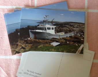 Post Card - 4x6 -Original Photograph - Beached Lobster Boat - Maine Coast