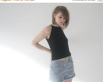 SALE 20% off SALE !! vintage black with glitter lines spaghetti strap cami singlet top with apron front