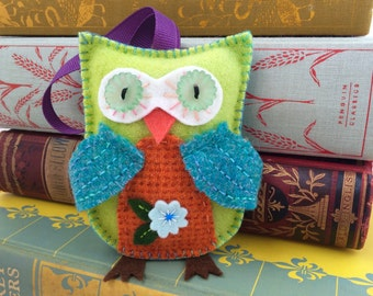green and orange wool felt owl ornament