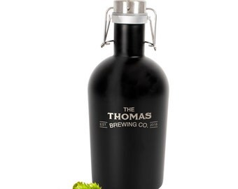 Personalized 64 oz. Black Stainless Steel Growler