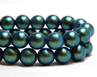 8mm Polychrome Aqua Teal Czech Beads, Pearl Beads, 8mm Green Beads, 8mm Beads, 8mm Pearls, Forest Green Beads, 8mm Czech Beads, T-4A