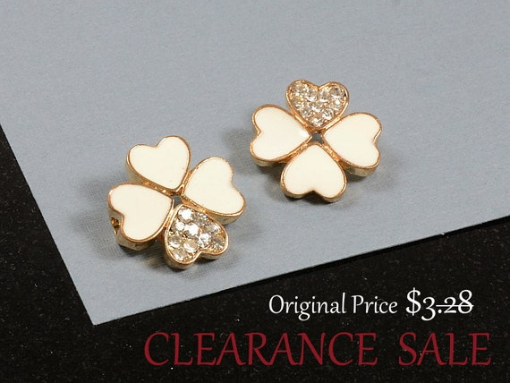 SALE - Clover Beads with Clear Rhinestone and White Enamel in Gold - 2 pcs/ order