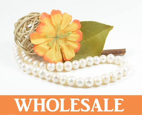 WHOLESALE 10mm-11mm large hole (2.5mm) genuine freshwater pearls, , natural round, natural white - 38+ PCS per strand