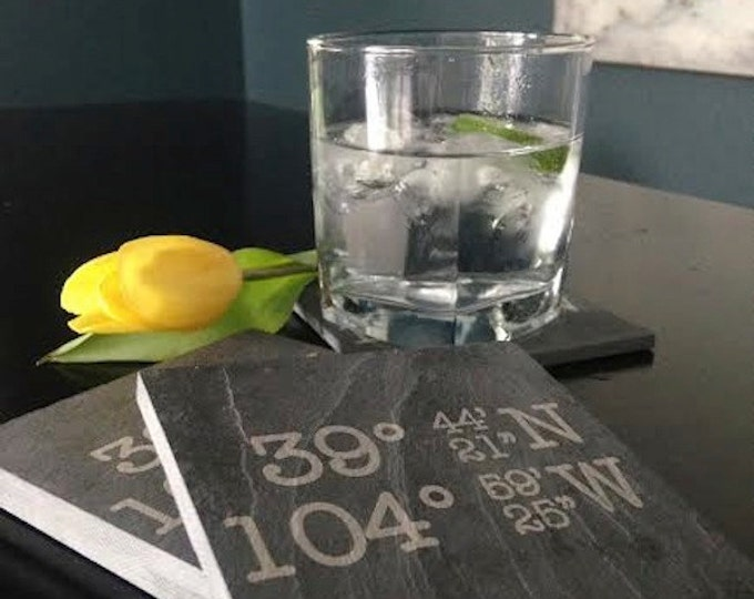 Personalized Slate GPS Coasters